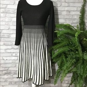 Calvin Klein Black | White Striped Sweater Dress S